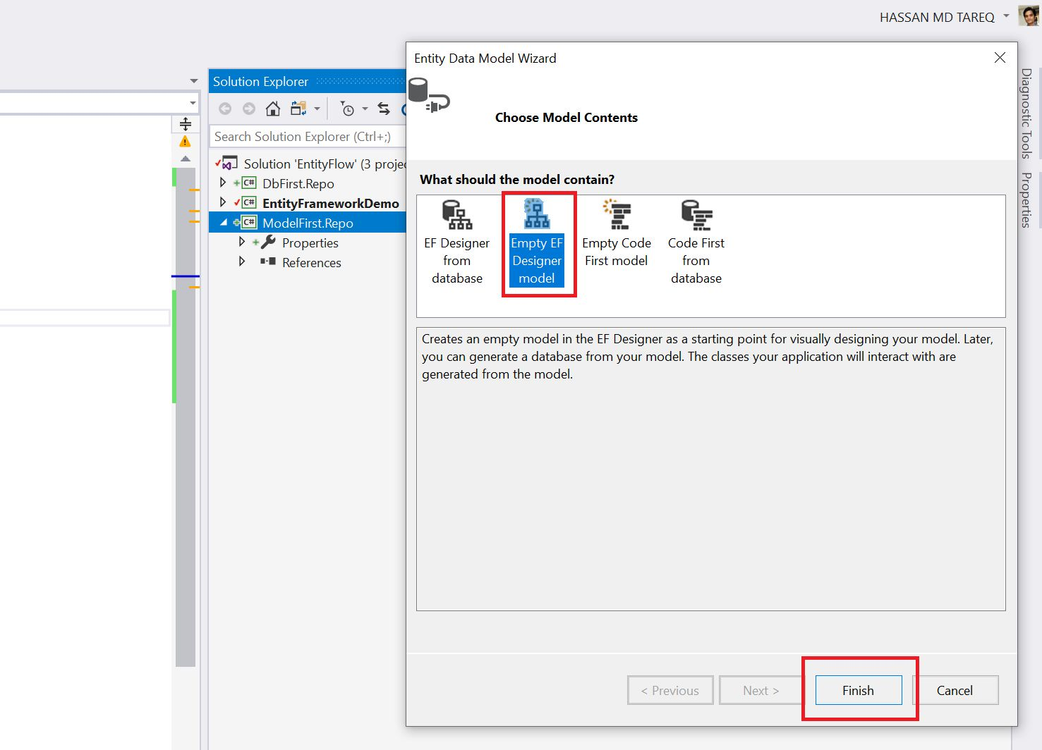 Entity Framework Model Fisrt Approach - Creating edmx Step 5
